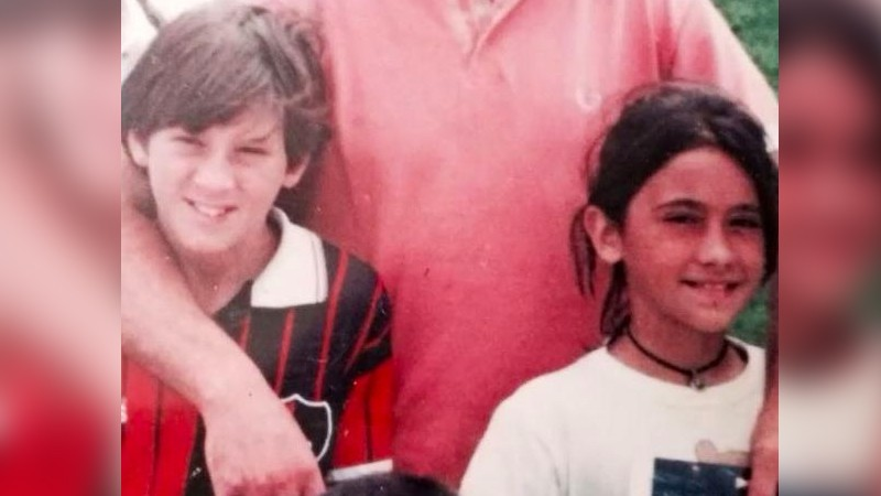 Young Messi and Antonella